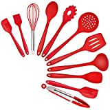 TeamFar Kitchen Utensils Set of 11, Red Silicone Cooking Utensils Spatula Set Heat Resistant For Nonstick Cookware, Perfect for Cooking Baking Mixing, Healthy & Non Scratch, Dishwasher Safe