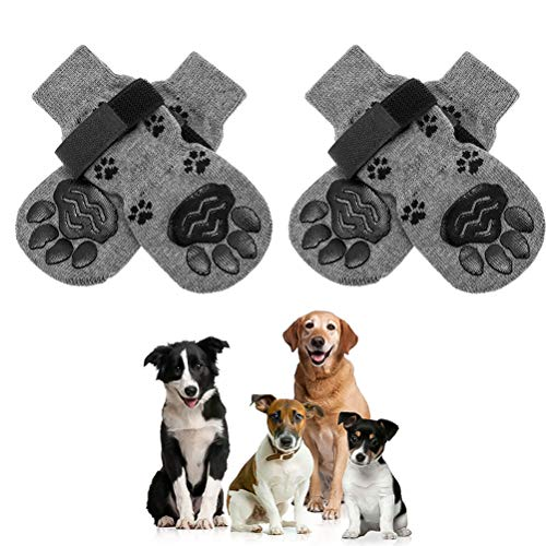 SCENEREAL Non-Slip Dog Socks Pet Paw Protector - Adjustable Soft Pet Puppy Socks with Paw Patterns...