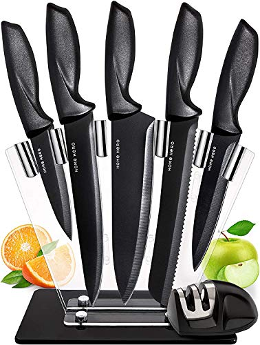 Home Hero Chef Knife Set Knives Kitchen Set Stainless Steel Kitchen Knives Set Kitchen Knife Set with Stand, Professional Knife Sharpener 7 Piece Set ( Stainless Steel Blades with Non-Stick Coating )