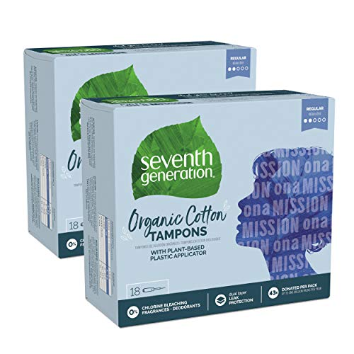 Seventh Generation Tampons with Comfort Applicator Organic Cotton Regular Absorbency 18 Count 2 Pack Packaging May Vary