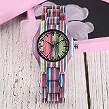 OIFMKC Reloj de Madera Reloj de Madera Colorido, Reloj de Lujo Superior de Color Caramelo único, Reloj de Pulsera de Madera de bambú Completo de Cuarzo para Mujer, Reloj de muñec