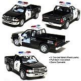 5' Dodge Ram Police Pickup Truck 1:44 Scale (Black/White) by Kinsmart