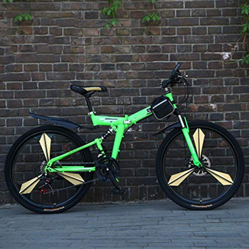 Aluminium full suspension mountainbike Mens Mountainbiken 24/26 Inch 21 Speed ​​Folding Green Cycle met schijfremmen