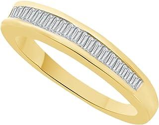 Fede nuziale in oro massiccio 10 ct (0,15 cttw) con diamante naturale bianco
