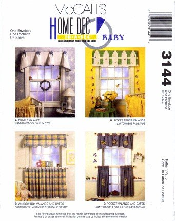 McCall's 3144 Sewing Pattern Valances Cafe Curtains Baby Room