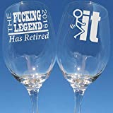 The Fucking Legend Has Retired Retirement Gift for Men Etched Wine Glass Fuck It