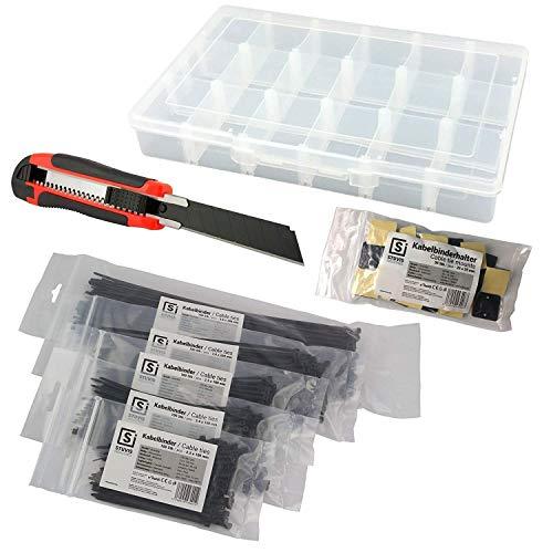 STUVIS® Kabelbinder-Set schwarz | 500 Stück | 100-280-mm lang | 2.5-mm - 3.6-mm breit | BONUS: Klebesockel + Cuttermesser + Aufbewahrungs-Box
