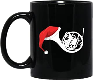 Christmas French Horn - Santa French Horn 11 oz. Black Mug