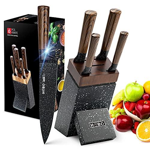 Messerset mit Holzblock, HOBO 6-tlg Profi Messerblock Set Edelstahl Kochmesser Set Extra Scharfe Stahlklinge & Ergonomischer Griff aus Pakkaholz Küchenmesser Set für zu Hause, Schwarz