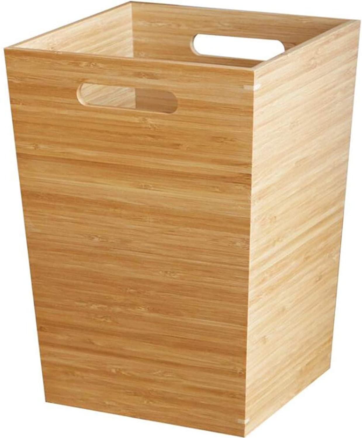 Wooden uncovered Trash can Living Room Bedroom Bamboo Wood Waste Paper Storage bin 17  17  27.5CM