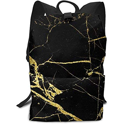 Daypack schoudertas in tas voor reizen, zwart en goud