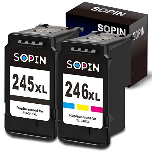 Price comparison product image SOPIN Remanufactured Canon Ink Cartridges 245 and 246 Replacement for Canon PG-245XL CL-246XL PG-243 CL-244 Used in Canon PIXMA MX492 MX490 TS3120 TS302 TS202 TR4520 MG2920 (1 Black 1 Tri-Color)