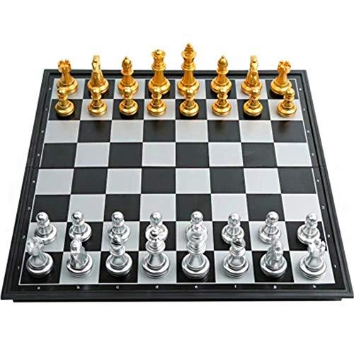 MSG ZY Juego de ajedrez, Tablero de ajedrez Plegable Hecho a Mano 36x36cm, Juego de ajedrez Hecho a Mano Regalos Familiares para niños y Adultos para Viajar