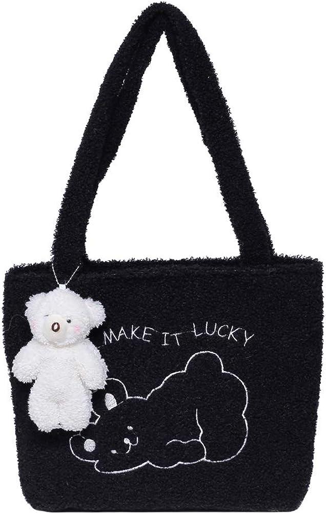 Portable Plush Sheep Shoulder Handbag Bear Pendant Women Top-handle Bags