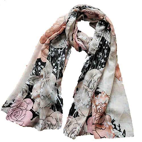 JYXQC-Schal Damen Seiden-Tuch Sommer Wrap Schal Lace Wild Schmetterling Print Solid Farben Mode Elegant