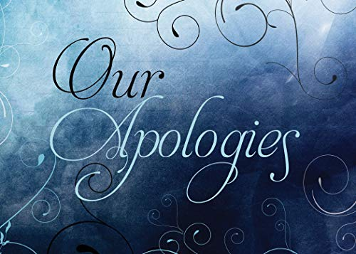 Apology Greeting Cards - AP1802. Business Greeting Card Featuring Floral Swirls on a Dark Background and Our Apologies Message. Box Set Has 25 Greeting Cards and 26 Bright White Envelopes.
