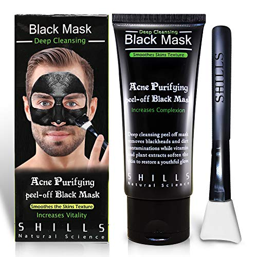SHILLS Charcoal Black Mask, Peel Off Mask, Charcoal Mask, Black Peel Off Mask, Deep Cleansing, Purifying, Activated Charcoal Black Mask with White Brush