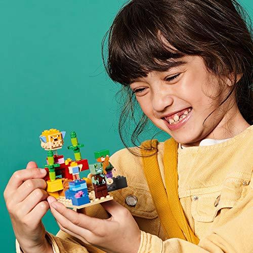 LEGO21164MinecraftDeKoraalrifSetmetAlex en VerdronkenZombie Poppetjes voor Kinderen van 8 Jaar en Ouder