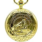 WMYATING Exquisito, hermoso, elegante y único diseño completo de oro reloj de bolsillo mecánico de mano viento oro colgante FOB doble collar cadena reloj ferroviario para hombres y mujeres