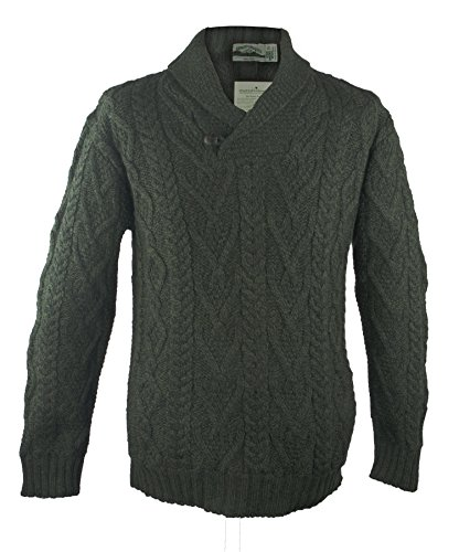 100% Irish Merino Wool Shawl Collar Aran Sweater, Army Green, Large