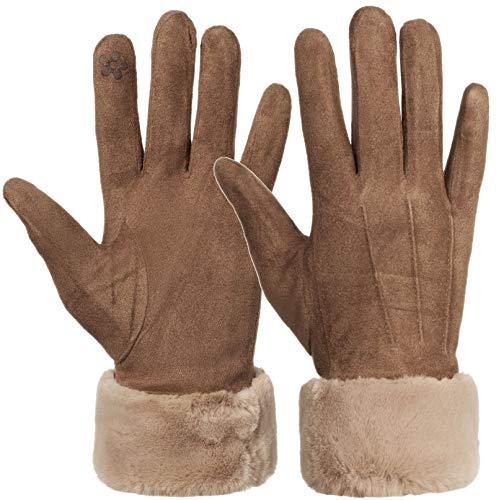 Faera Lederhandschuhe Damen gefüttert Touchscreen Handschuhe Leder Winterhandschuhe Gloves Onesize, Farbe:Braun