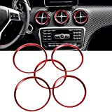 Euopat Ring Trim Sticke Out Sortie d'air conditionné Cache-air décoratif Autocollant approprié 2013-18 pour Mercedes-Benz Classe B Classe CLA GLA Climatisation Sortie d'aération