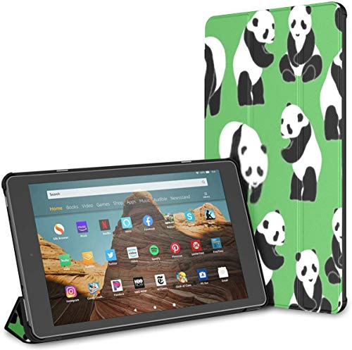Case for All-New Amazon Fire Hd 10 Tablet (7th and 9th Generation,2017/2019 Release),Slim Folding Stand Cover with Auto Wake/Sleep for 10.1 Inch Tablet, Panda Pattern Seamless Green Background