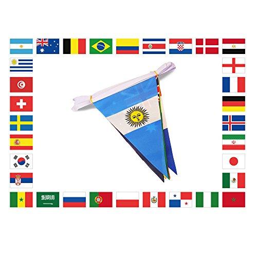 AZ FLAG Guirlande 11 mètres 32 Drapeaux Triangulaire Coupe du Monde de Football 2018 30x20 cm - Drapeau Championnat du Monde Russie 20 x 30 cm