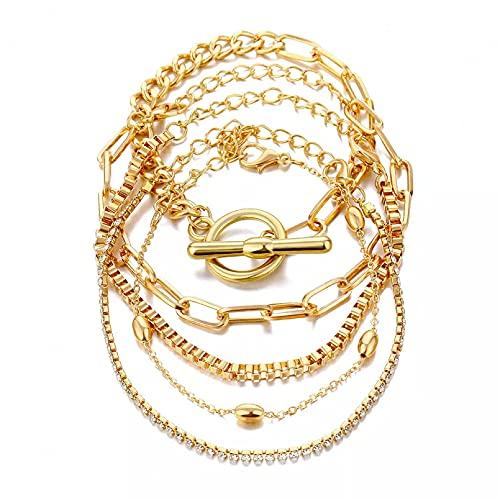 Joyería retro simple con cadena de personalidad de diamantes de imitación cadena de bloqueo de círculo pulsera de 5 piezas para mujer Pulsera de pareja Regalos para esposa madre y novia