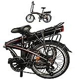 Bicicleta Elctrica Plegables De montaña Adultos Unisex Negro, 75 Ah Motor 250 W Alcance hasta 45-55 km 25 km/h, Bicicleta Eléctricas para Adultos/Hombres/Mujeres.