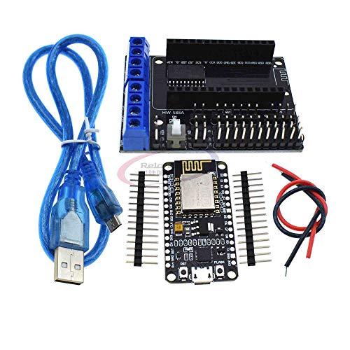 Reland Sun Development Kit ESP8266 ESP-12E CP2102 Placa de desarrollo + L293D Módulo de expansión de motor WiFi para ESP-12E ESP8266 (Kit)