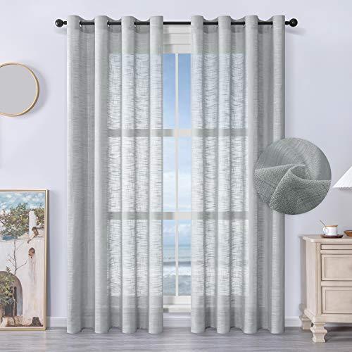MRTREES Voile Gardinen kurz 2er-Set Leinenoptik Vorhang mit Ösen im Modernen Stores Gardinen Schals Grau 225×140 (H×B) für Wohnzimmer Schlafzimmer Kinderzimmer