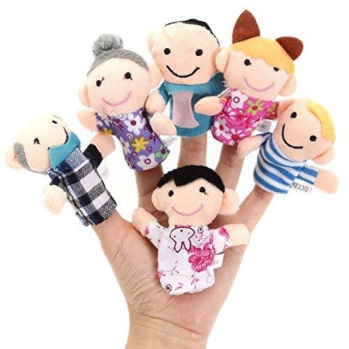 CER0T 6 piezas de tela de felpa Títeres de dedo del juguete del bebé Historias de cama ayudante de la muñeca