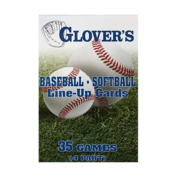 Glover's Scorebooks Baseball/Softball Line-Up Cards, Large (5.5X 8.5, 4 Part)