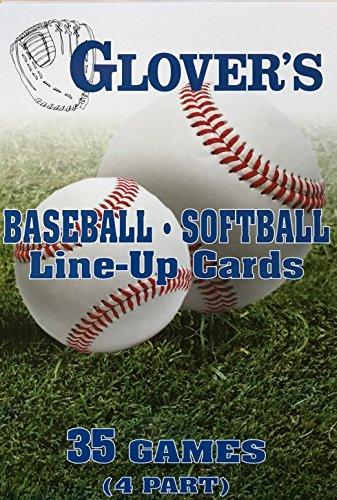 Glover's Scorebooks Baseball/Softball Line-Up Cards, Large (5.5X 8.5, 4 Part)