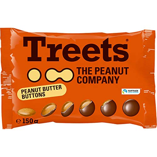 12 Beutel a 150g Treets Peanut Buttons Company Erdnusscreme mit Schokolade umhüllt