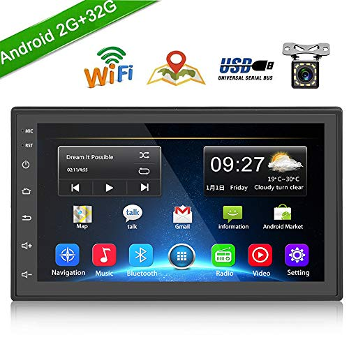 "Double Din Car Radio GPS Navigation Android Head Unit 7"" HD Touch Screen Indash Car Stereo Support Dual USB, AUX in, Bluetooth, WiFi, FM, Mirror Link with Rear Camera (2G+32G)"