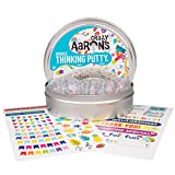"Crazy Aaron's Thinking Putty 4"" Tin Gift Set - Celebrate! Glitter in Clear Putty, Includes Customizable Greeting Card and Stickers - Soft Texture, Non-Toxic, Never Dries Out"