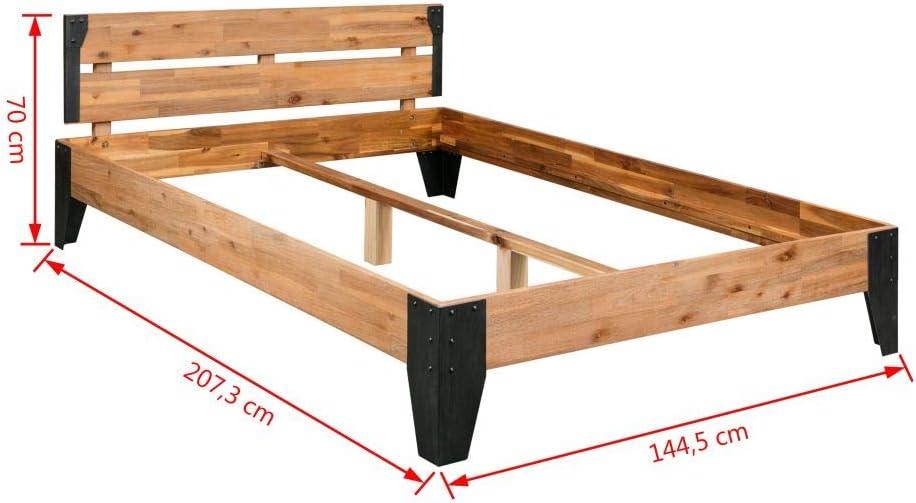 vidaXL Struttura Letto Legno Massello di Acacia e Acciaio 140x200 cm Giroletto