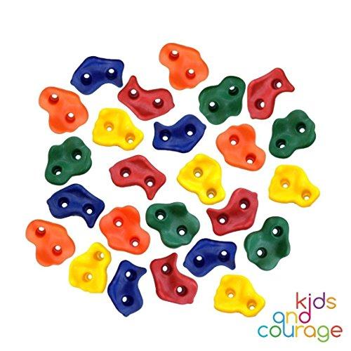 Presas de escalada para niños – Set de iniciación: 25 rocas de plástico con fijaciones metálicas para muro de escalada – Colores, formas y texturas variadas para crear su propia pared de escalar
