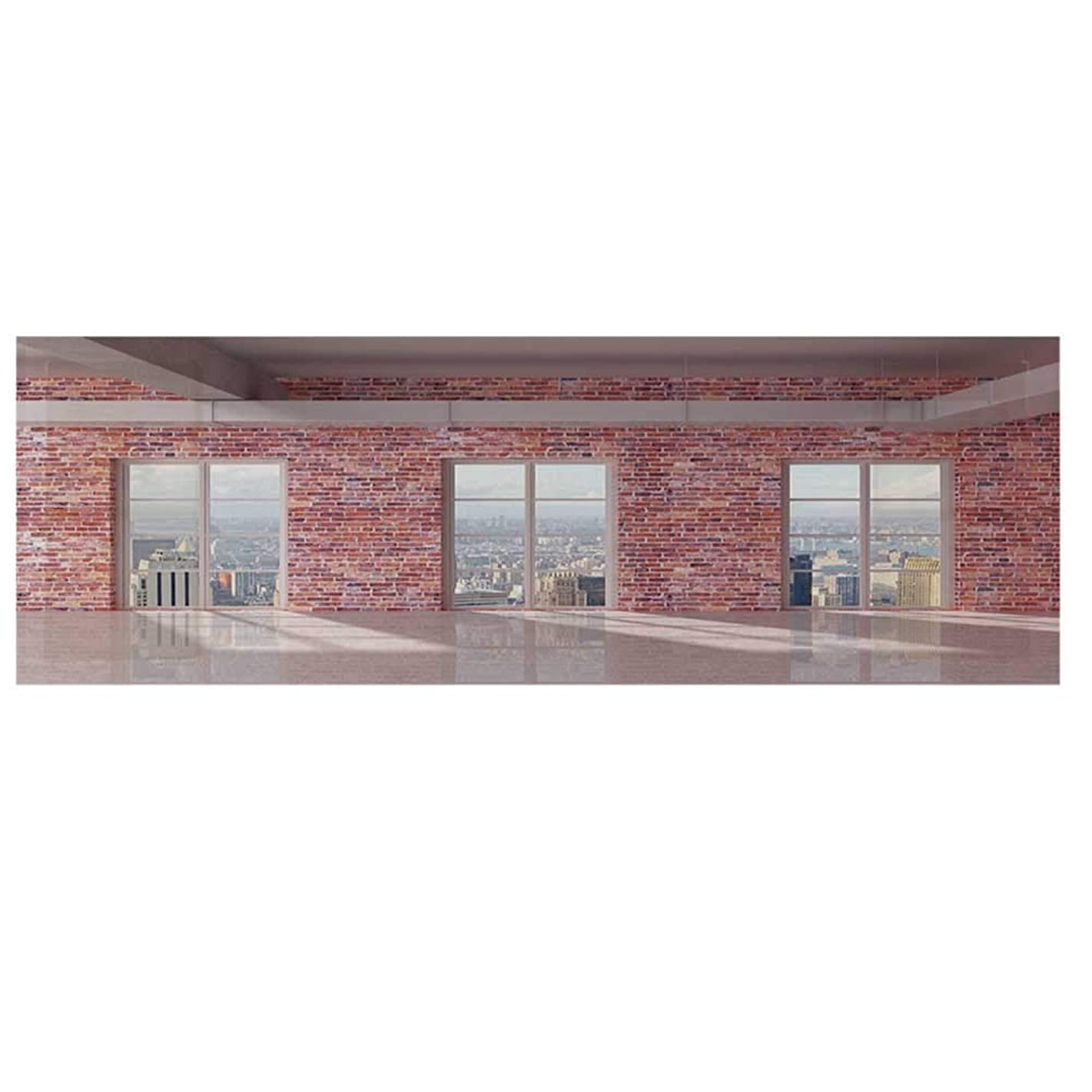 """Modern Decor Microwave Oven Cover,Red Brick Wall Loft Interior with Windows to City Urban Contemporary Design Cover for Kitchen,36""""L x 12""""W"""