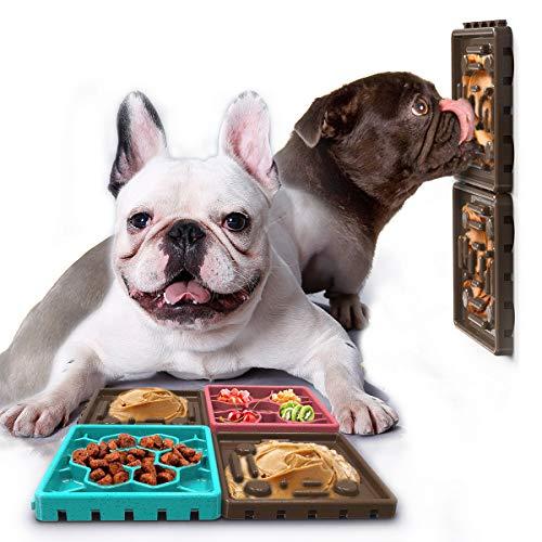 HCHLQLZ Braun Antischlingnapf für Hund Katze Interaktiver Langsame Fütterung Hundenapf Hundespielzeug Intelligenz Slow Feeder Fressnapf Leckerli-Matte