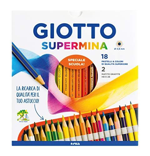 Fila Pastelli Giotto Supermina Ast 18 +2 Matite Lyra Temagraph In Grafite