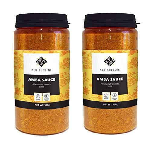 Salsa Amba Med Cuisine 500gr - Condimento Piccante al Mango Sottaceto - Chutney Israeliano - Vegano e Non OGM (2 confezione)