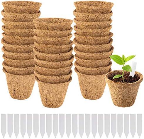 30 Pack Coco Coir Planter Nursery Pots 3 Biodegradable Seedling Germination Peat Pot with Bonus product image