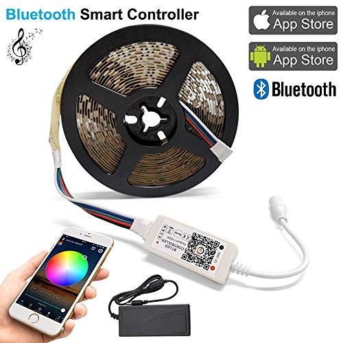 Bluetooth Smart RGBW LED-Streifen set 5M 5050 SMD, mit Bluetooth-Controller 300 Leds 60W, Mehrfarbenlichtleiste, 5A 12V, Musikkompatibel mit Android, IOS (Bluetooth RGBW-Kit)