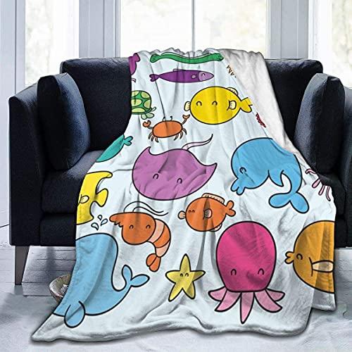 Kteubro Manta de camarones de pescados Puffer Super suave, cómoda, micro forro polar, manta decorativa, ligera y acogedora para sofá cama A1481