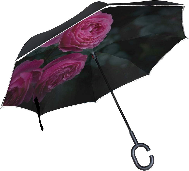 Rh Studio Ingreened Umbrella pink Buds Bush Large Double Layer Outdoor Rain Sun Car Reversible Umbrella