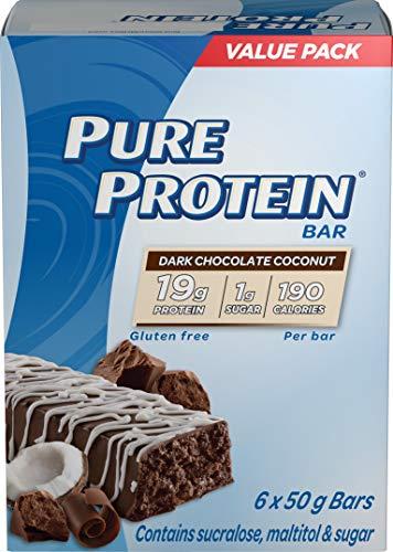 Pure Protein Bars, Gluten Free, Snack Bars, Dark Chocolate Coconut, 50 gram, 6 Count