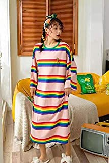 Lady Star Women Nightwear Long T shirt stripe,long sleeve cute soft cotton G920